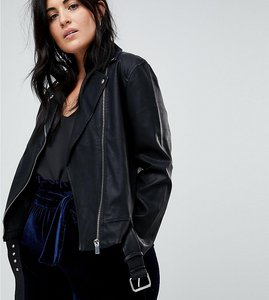 Read more about Lost ink plus longline biker jacket in faux leather - black