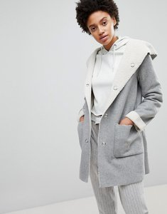 Read more about Stradivarius contrast faux fur shearling jacket - grey