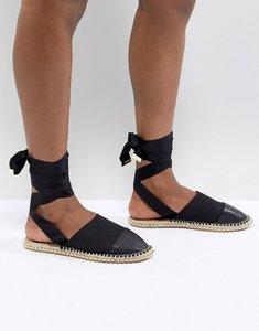 Read more about Asos design josh studded tie leg espadrilles - black