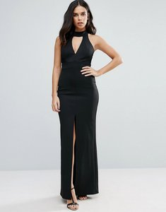 Read more about Jessica wright maxi dress with front split and lace detail - black
