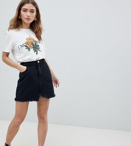 Read more about Missguided petite raw hem mini skirt - black