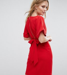 Read more about Closet london kimono sleeve midi dress with tie back detail and split front - red