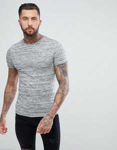 Read more about Asos muscle t-shirt in lightweight knitted jersey with roll sleeve in grey - grey