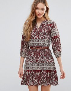Read more about Yumi belted dress in paisley print - burgundy