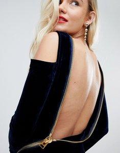 Read more about Asos velvet open zip back bodycon mini dress - navy