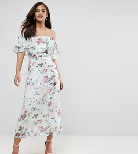 Read more about Y a s studio tall jessy floral printed bardot midi dress - multi
