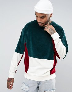 Read more about Asos oversized sweatshirt with velour colour block - green