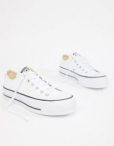 Read more about Converse chuck taylor all star leather platform low trainers in white - white