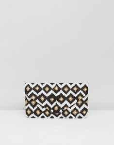 Read more about Clutch me by q hand beaded diamond print clutch - black gold