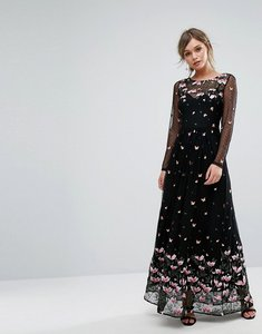 Read more about Oasis premium floral embroidered embellished maxi dress - multi