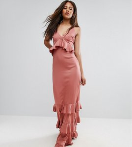 Read more about Y a s studio tall gianna frill ruffle maxi dress with premium lace inserts - withered rose
