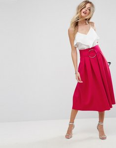 Read more about Asos scuba prom skirt with circle belt - raspberry