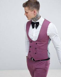 Read more about Noose monkey wedding super skinny suit waistcoat - purple