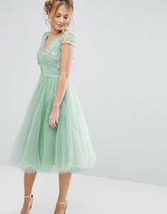 Read more about Chi chi london tulle midi dress with 3d embroidery - sage green