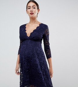 cca7765dbd Read more about Flounce london maternity lace prom dress with 3 4 sleeve in  navy -