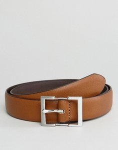Read more about Asos smart slim belt in tan faux leather with silver box buckle - tan