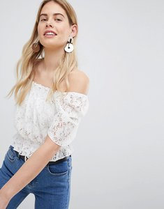 Read more about New look shirred bardot crop top - cream