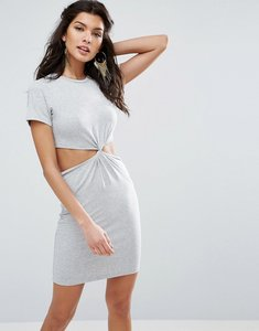Read more about Asos twist front mini bodycon dress with cut out - grey marl