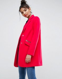 Read more about Asos slim boyfriend coat with zip pocket - hot pink