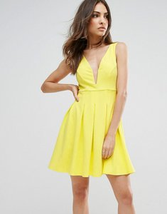 Read more about Club l structured plunge detailed skater dress - yellow