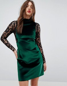 Read more about Asos velvet lace long sleeve mini shift dress - green