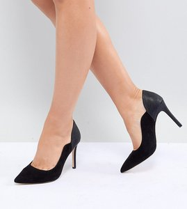 Read more about Faith wide fit cassandra pointed heeled shoes - black