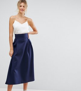 Read more about Asos tall high waisted scuba midaxi prom skirt - navy