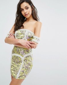 Read more about Prettylittlething premium bardot piped mini dress - lime