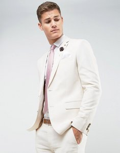 Read more about Farah skinny wedding suit jacket in linen - stone