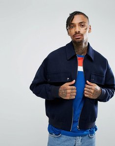 Read more about Asos wool mix oversized harrington jacket in navy - navy