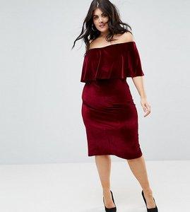 Read more about Club l plus bardot velour midi dress - burgandy
