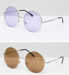 Read more about 7x 2 pack coloured lens round sunglasses - gold purple