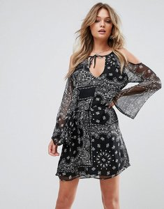 Read more about Wyldr steady beat paisley printed day dress with cold shoulder and waist tie - black