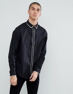 Read more about Process black contrast tipped collar and placket slim fit shirt - black
