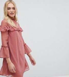 Read more about Influence tall chiffon frill detail dress - blush