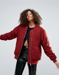 Read more about Monki oversized bomber jacket - red