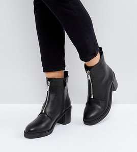 Read more about The march black zip front chunky heeled ankle boots - black pu