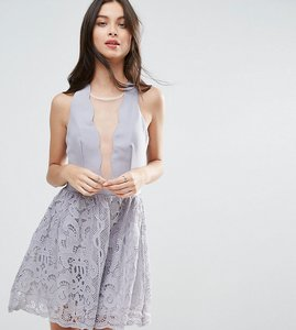 Read more about Little mistress petite scallop skater dress with crochet lace skirt - grey
