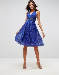 Read more about Asos lace prom midi dress with ribbon ties - royal blue