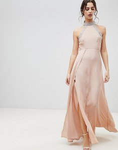 Read more about Asos embellished trim backless maxi dress - nude