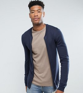 Read more about Asos tall knitted muscle fit bomber jacket in navy - navy