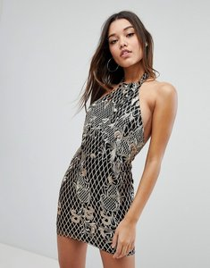 Read more about Missguided embroidered sequin halter neck mini dress - black