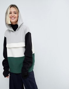 Read more about Asos white colourblock sweat top with ruched sleeves - multi