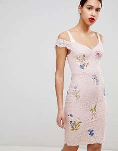 Read more about Karen millen lace embroidered pencil dress - pale pink