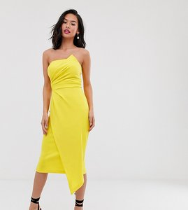 Read more about Laced in love scuba asymmetric pencil dress in yellow