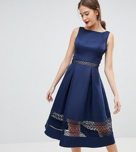 Read more about Chi chi london tall structured midi dress with lace inserts - navy