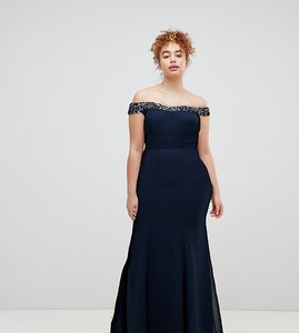 Read more about Maya bardot sequin detail maxi dress with bow back detail - navy