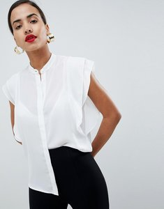 Read more about Asos blouse with frill shoulder - ivory