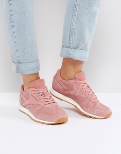 Read more about Reebok classic leather faux exotic trainers in pink - pink