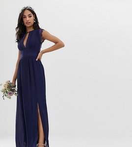 Read more about Tfnc lace detail maxi bridesmaid dress in navy